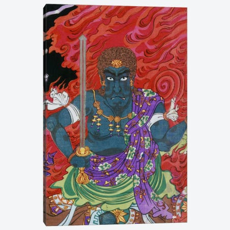 Acala (fudo) with Sword Canvas Print #1628} by Unknown Artist Canvas Wall Art