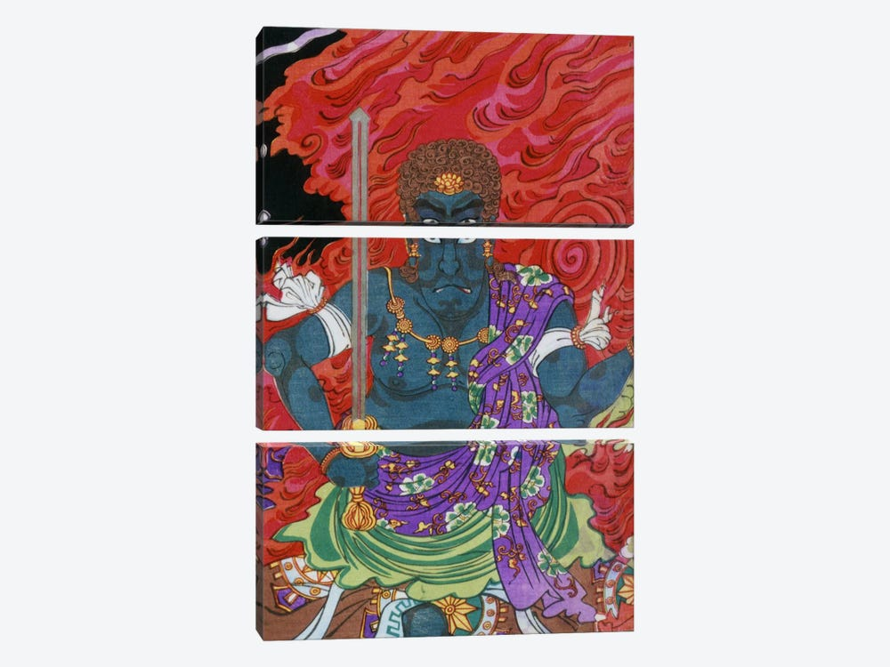 Acala (fudo) with Sword by Unknown Artist 3-piece Canvas Art