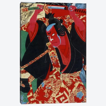 Samurai Painted Red Canvas Print #1631} Canvas Print