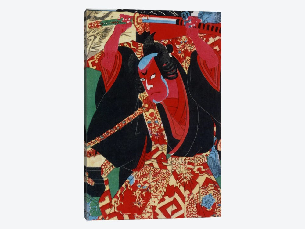 Samurai Painted Red 1-piece Canvas Art
