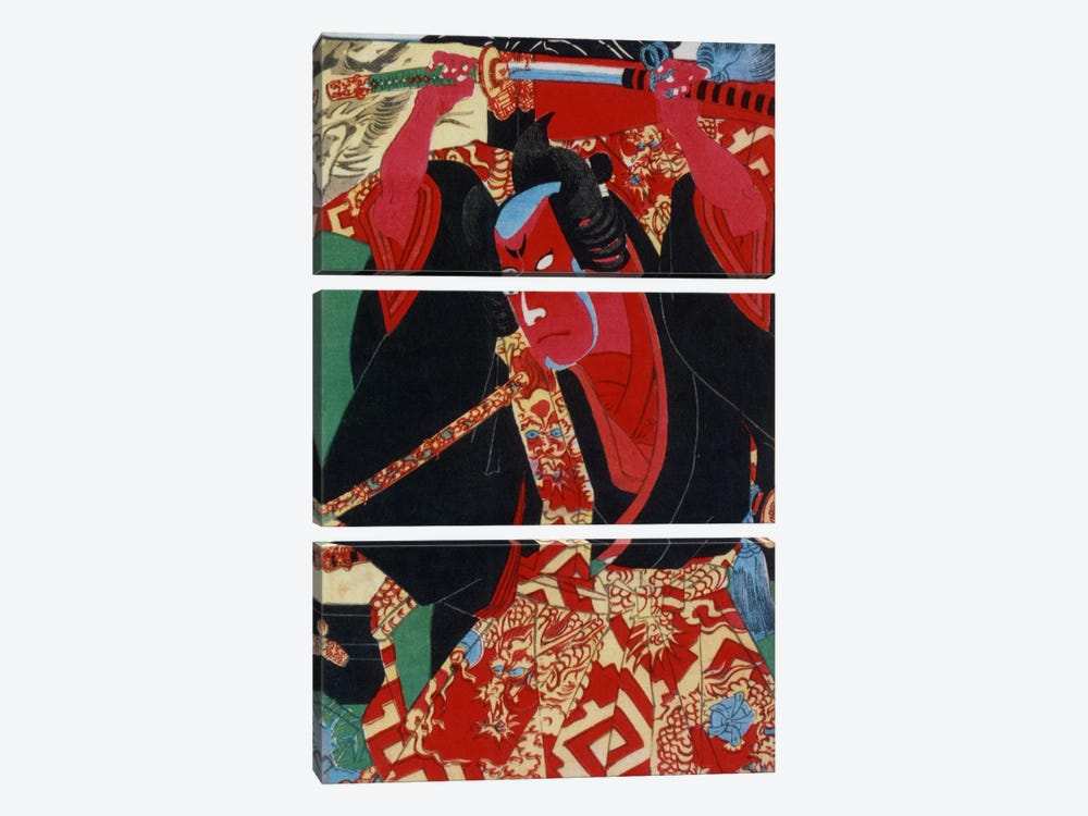 Samurai Painted Red by Unknown Artist 3-piece Canvas Art