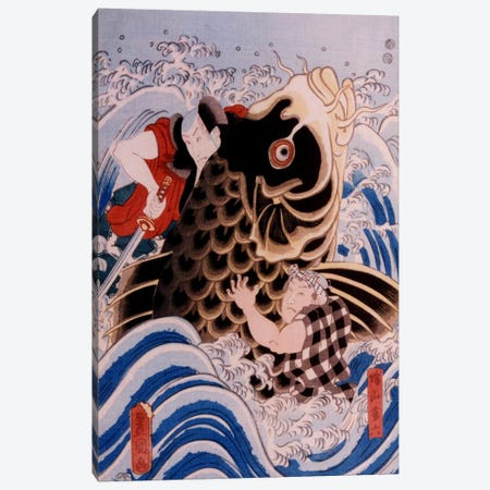 Samurai Wrestling Giant Koi Carp Canvas Print #1632} by Unknown Artist Art Print