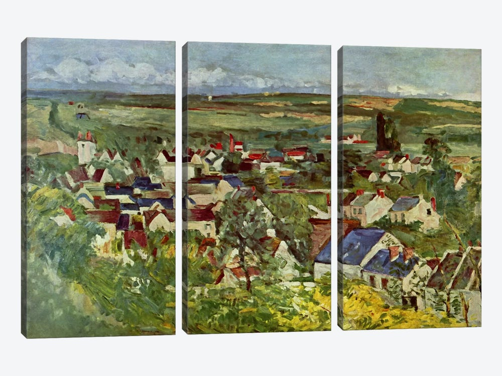 View of Auvers by Paul Cezanne 3-piece Art Print