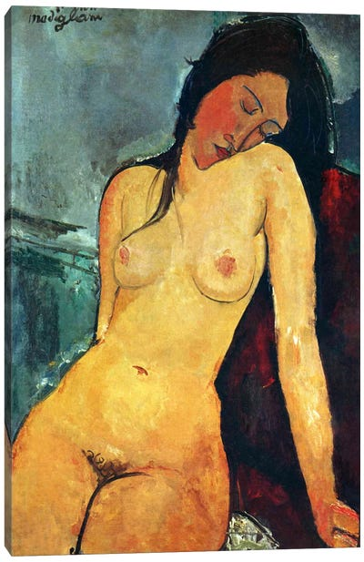 Seated Nude Canvas Art Print
