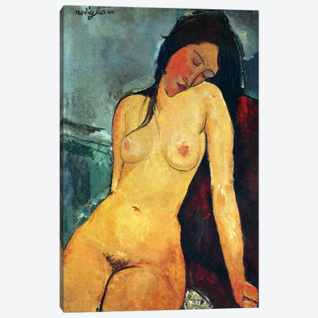 Seated Nude Canvas Print #1723} by Amedeo Modigliani Canvas Print