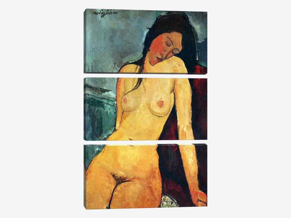 Seated Nude by Amedeo Modigliani 3-piece Canvas Artwork