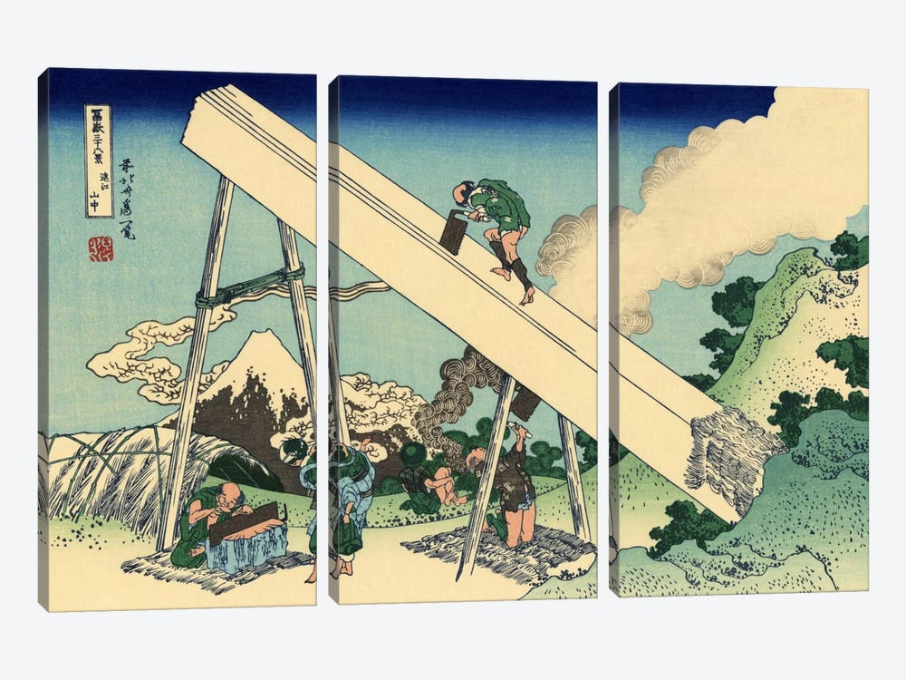 The Fuji from The Mountains of Totomi by Katsushika Hokusai 3-piece Canvas Artwork
