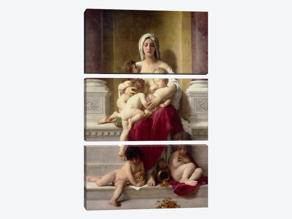 Charity by William-Adolphe Bouguereau 3-piece Art Print