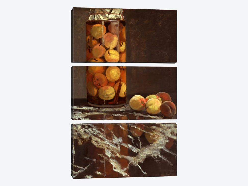 Jar of Peaches (Das Pfirsichglas) by Claude Monet 3-piece Canvas Art Print