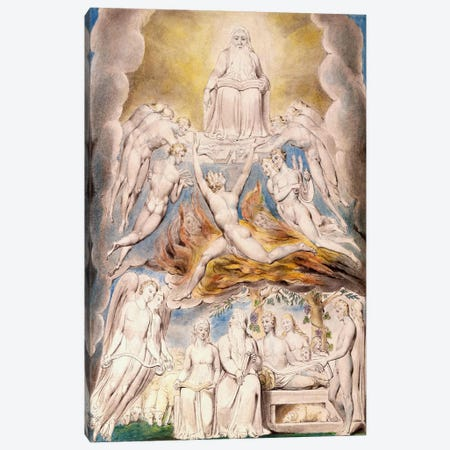 Satan Before The Throne of God Canvas Print #1751} by William Blake Canvas Art