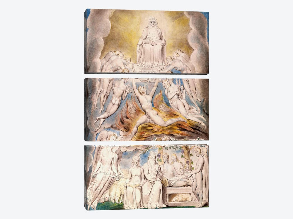 Satan Before The Throne of God by William Blake 3-piece Canvas Print
