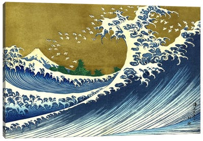 A Colored Version of The Big Wave by Katsushika Hokusai Canvas Art Print