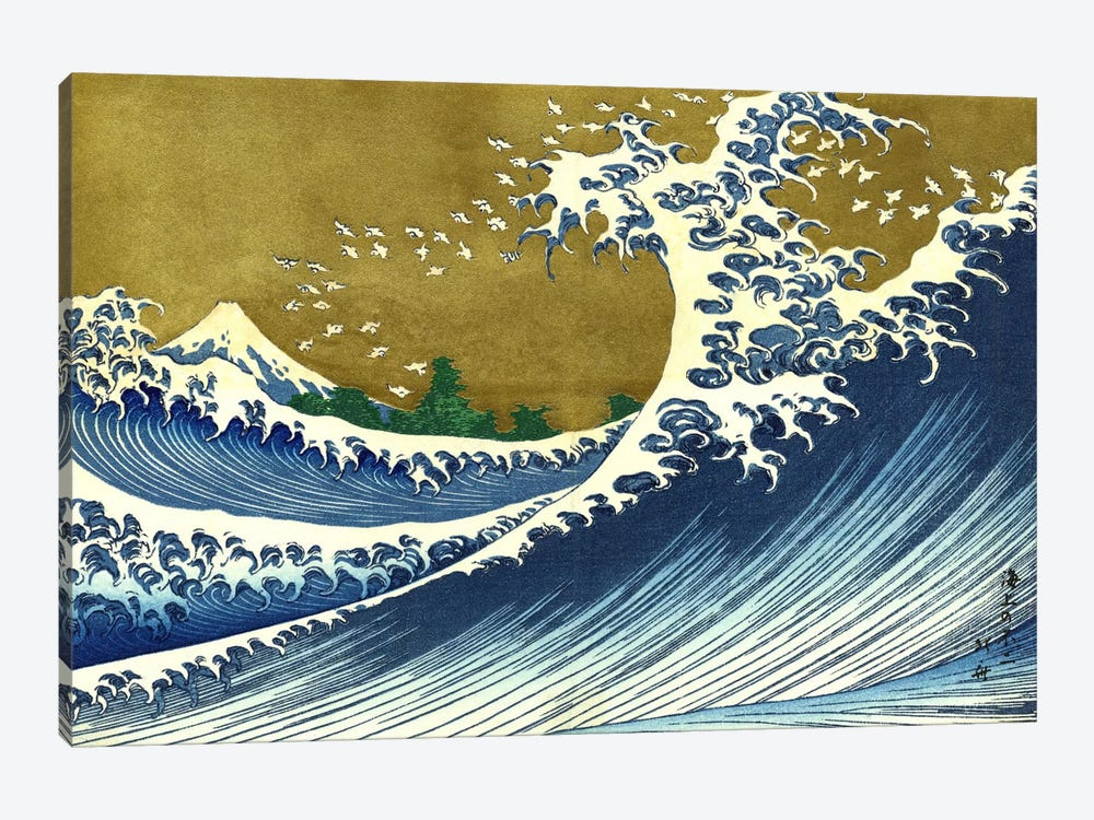 A Colored Version of The Big Wave by Katsushika Hokusai 1-piece Canvas Wall Art