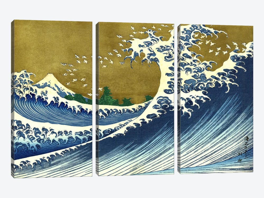 A Colored Version of The Big Wave by Katsushika Hokusai 3-piece Canvas Wall Art