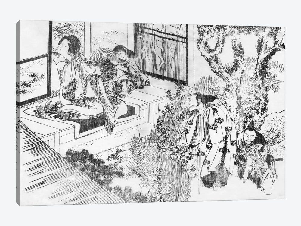 A Man Watching a Beautiful Woman by Katsushika Hokusai 1-piece Canvas Art Print