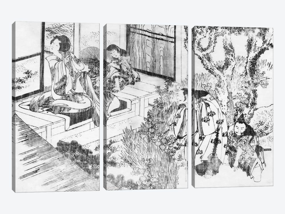 A Man Watching a Beautiful Woman by Katsushika Hokusai 3-piece Art Print