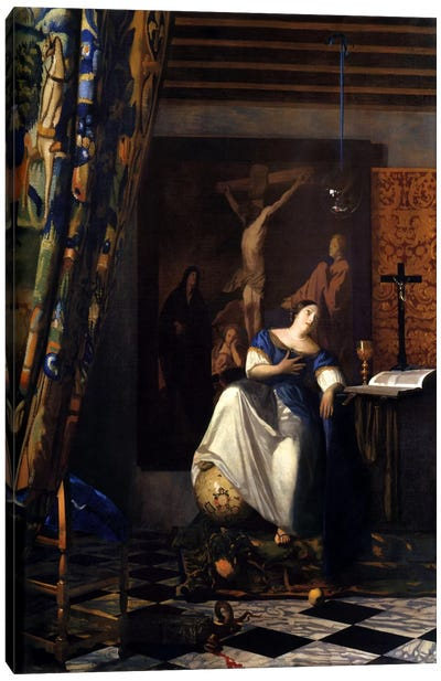 Allegory of The Faith by Johannes Vermeer Canvas Art Print