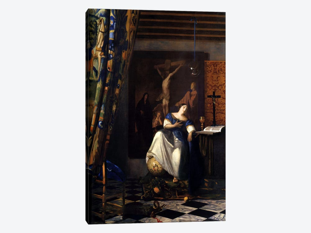 Allegory of The Faith by Johannes Vermeer 1-piece Canvas Art Print