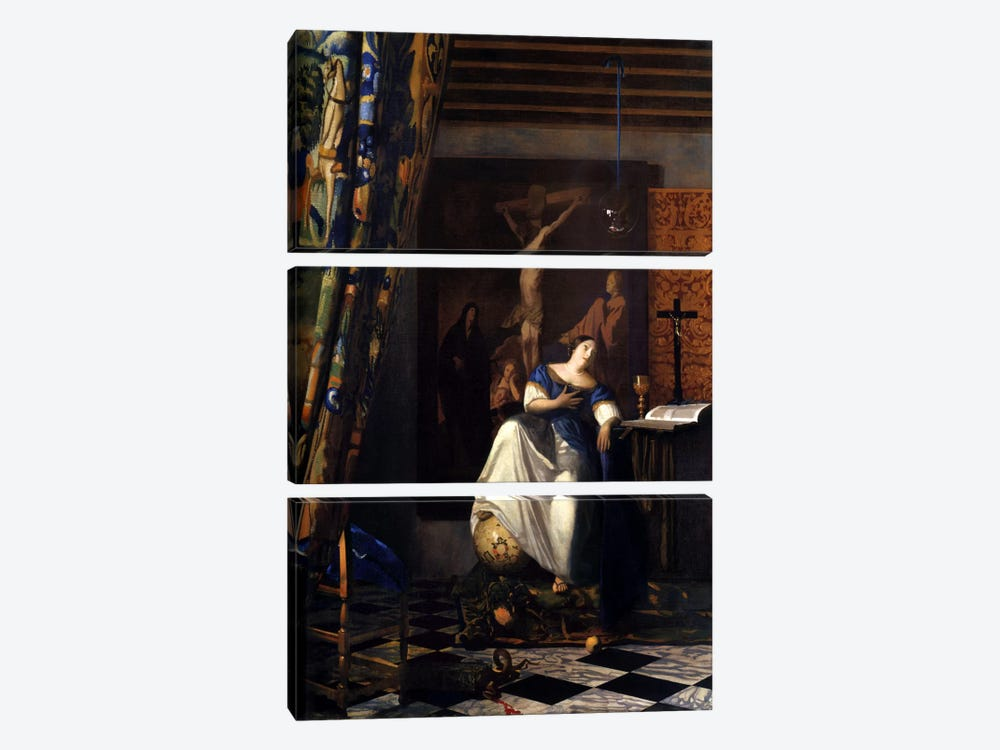 Allegory of The Faith by Johannes Vermeer 3-piece Art Print