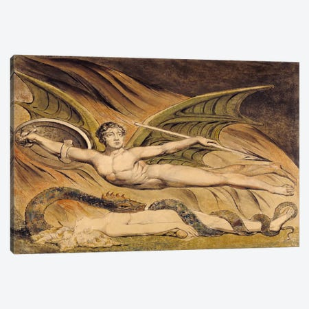Satan Exulting Over Eve Canvas Print #1766} by William Blake Canvas Art