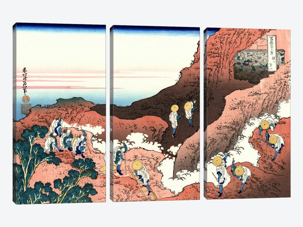 Climbing on Mt. Fuji by Katsushika Hokusai 3-piece Canvas Art