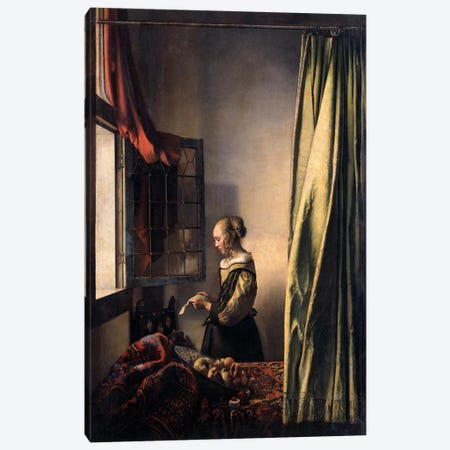 Girl Reading a Letter at an Open Window Canvas Print #1787} by Johannes Vermeer Canvas Art