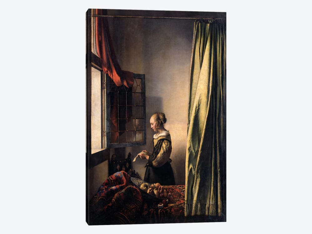 Girl Reading a Letter at an Open Window by Johannes Vermeer 1-piece Canvas Artwork