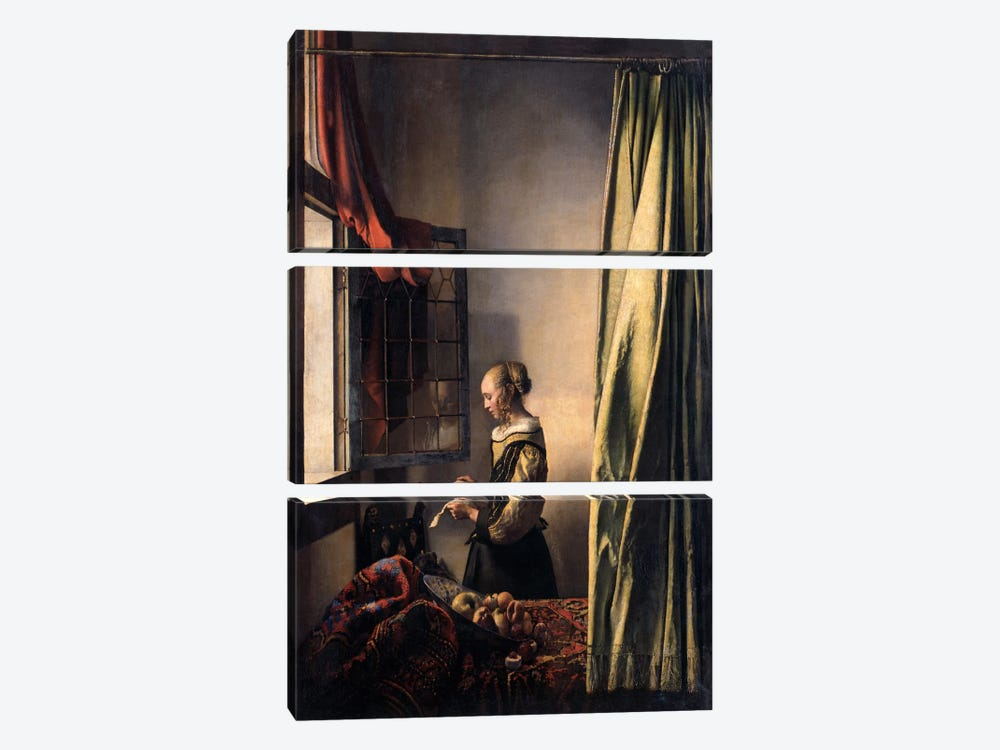 Girl Reading a Letter at an Open Window by Johannes Vermeer 3-piece Canvas Wall Art