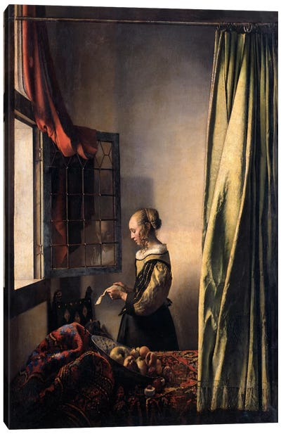 Girl Reading a Letter at an Open Window Canvas Art Print