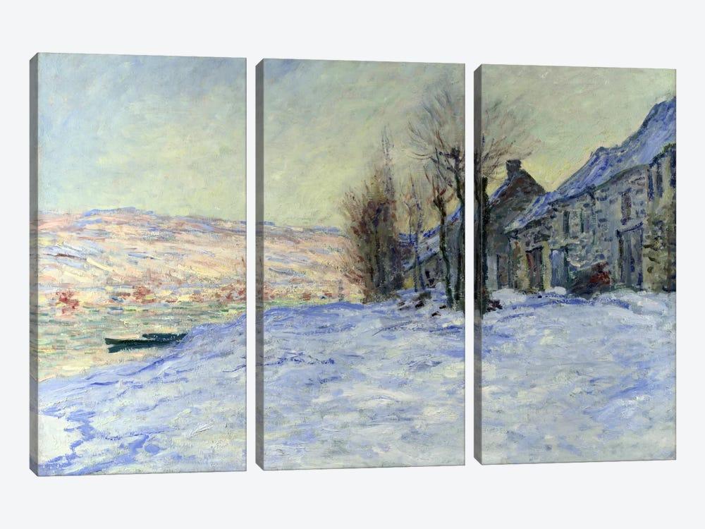 Lavacourt Sunshine and Snow by Claude Monet 3-piece Art Print