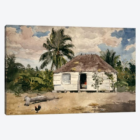 Native Huts, Nassau Canvas Print #1799} by Winslow Homer Canvas Art