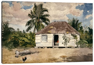 Native Huts, Nassau Canvas Art Print