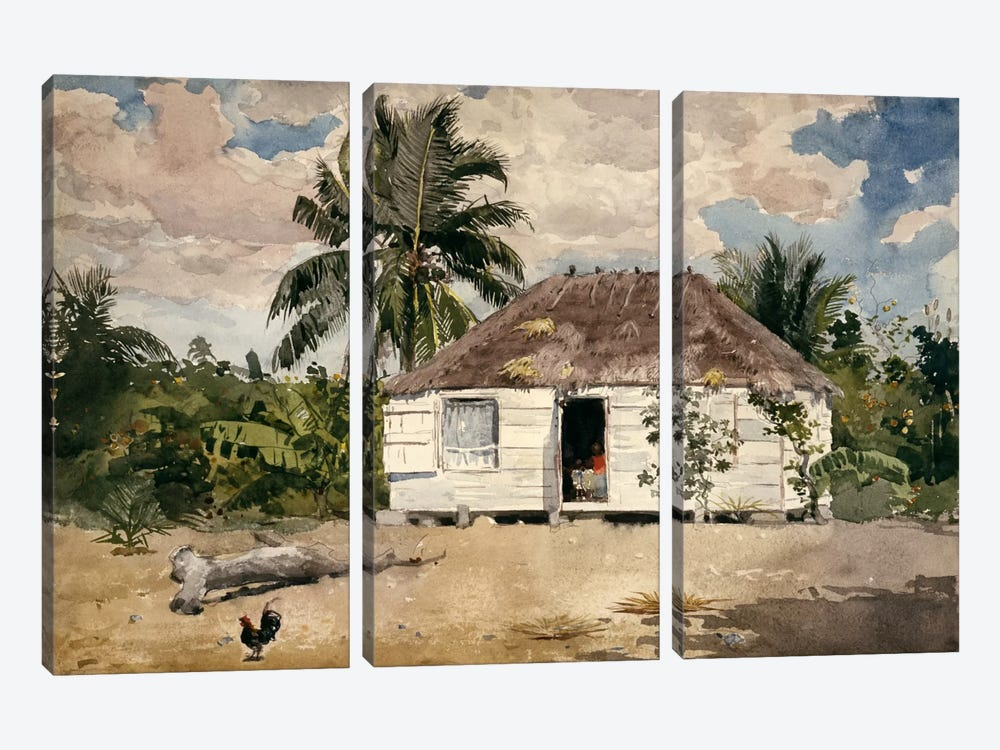 Native Huts, Nassau by Winslow Homer 3-piece Art Print