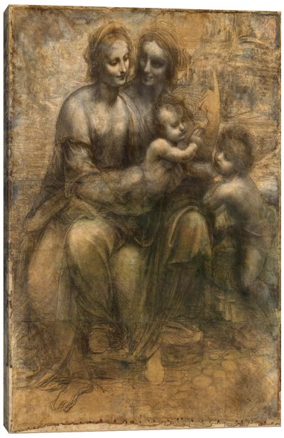 The Virgin and Child with Saint Anne and Saint John The Baptist Canvas Art Print