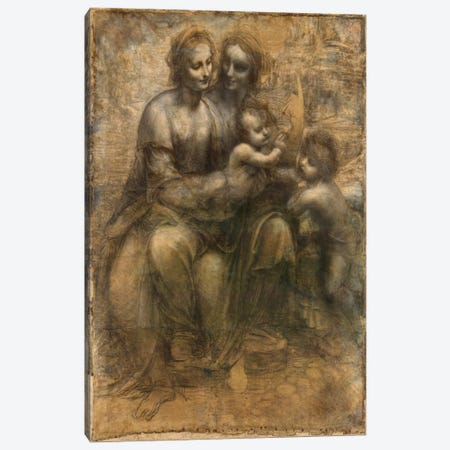 The Virgin and Child with Saint Anne and Saint John The Baptist Canvas Print #1814} by Leonardo da Vinci Canvas Artwork