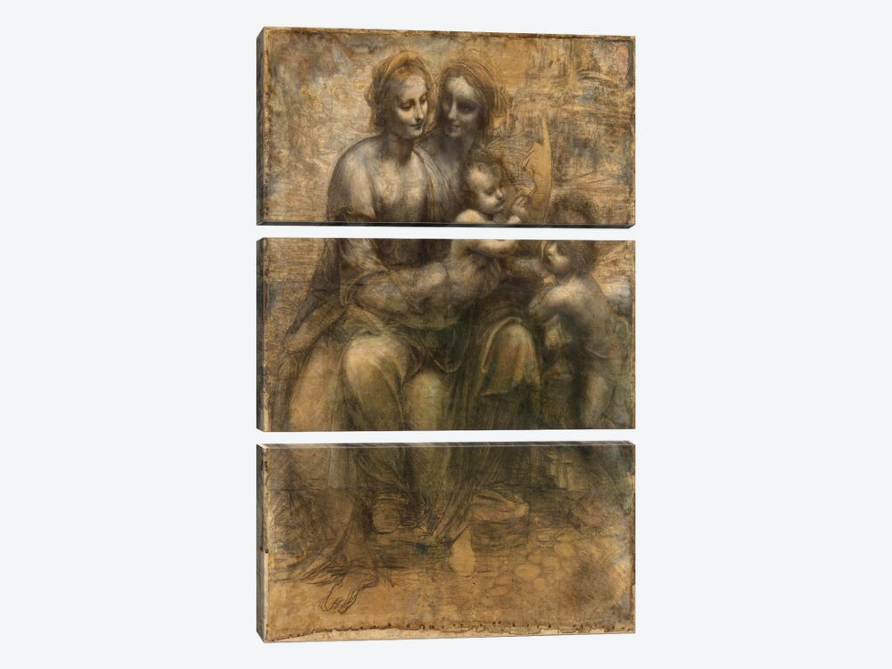 The Virgin and Child with Saint Anne and Saint John The Baptist by Leonardo da Vinci 3-piece Canvas Wall Art
