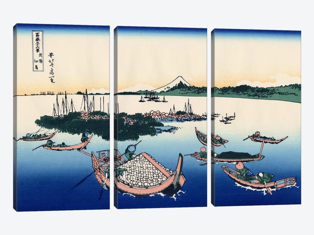 Tsukada Island in The Musashi Province by Katsushika Hokusai 3-piece Canvas Print