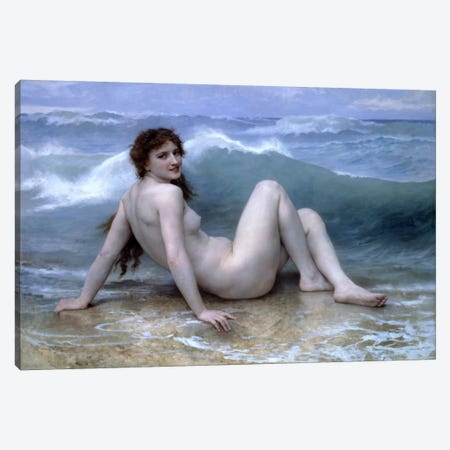 The Wave (La Vague) Canvas Print #1821} by William-Adolphe Bouguereau Canvas Artwork