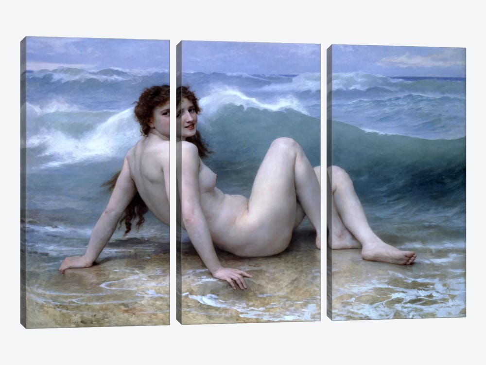 The Wave (La Vague) by William-Adolphe Bouguereau 3-piece Canvas Wall Art