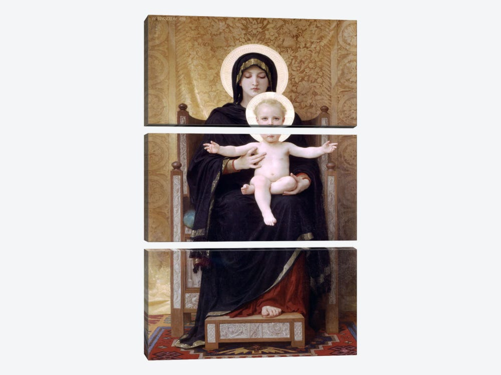 The Seated Madonna (Madone Assise) by William-Adolphe Bouguereau 3-piece Canvas Art