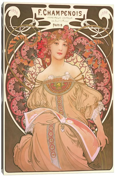 Reverie by Alphonse Mucha Canvas Art