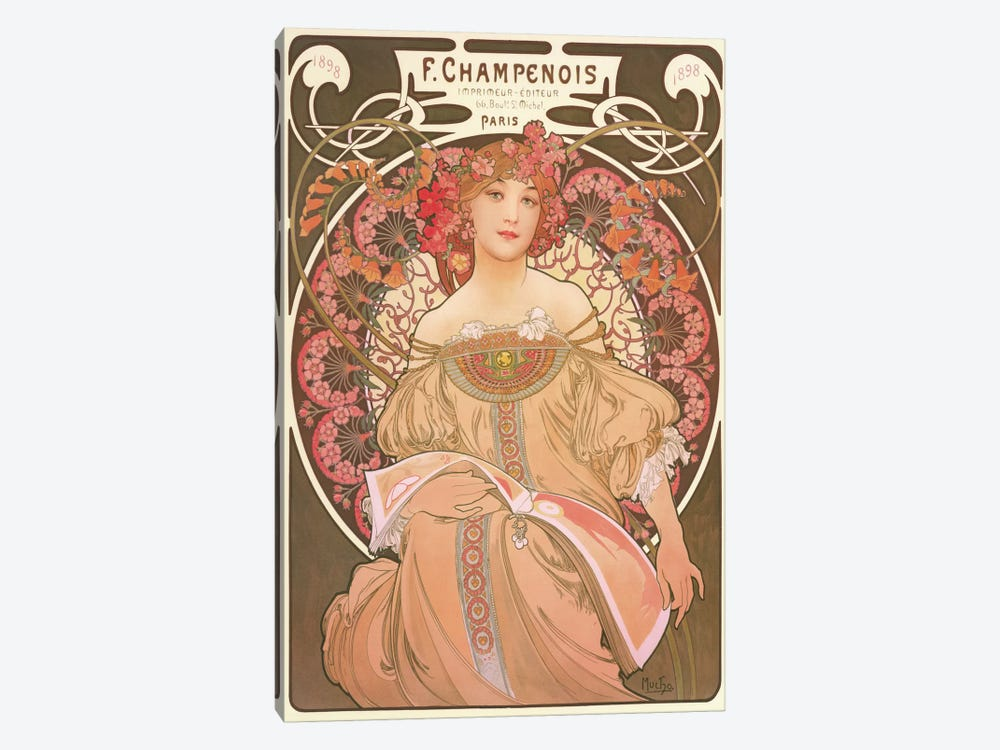 Reverie by Alphonse Mucha 1-piece Canvas Art Print