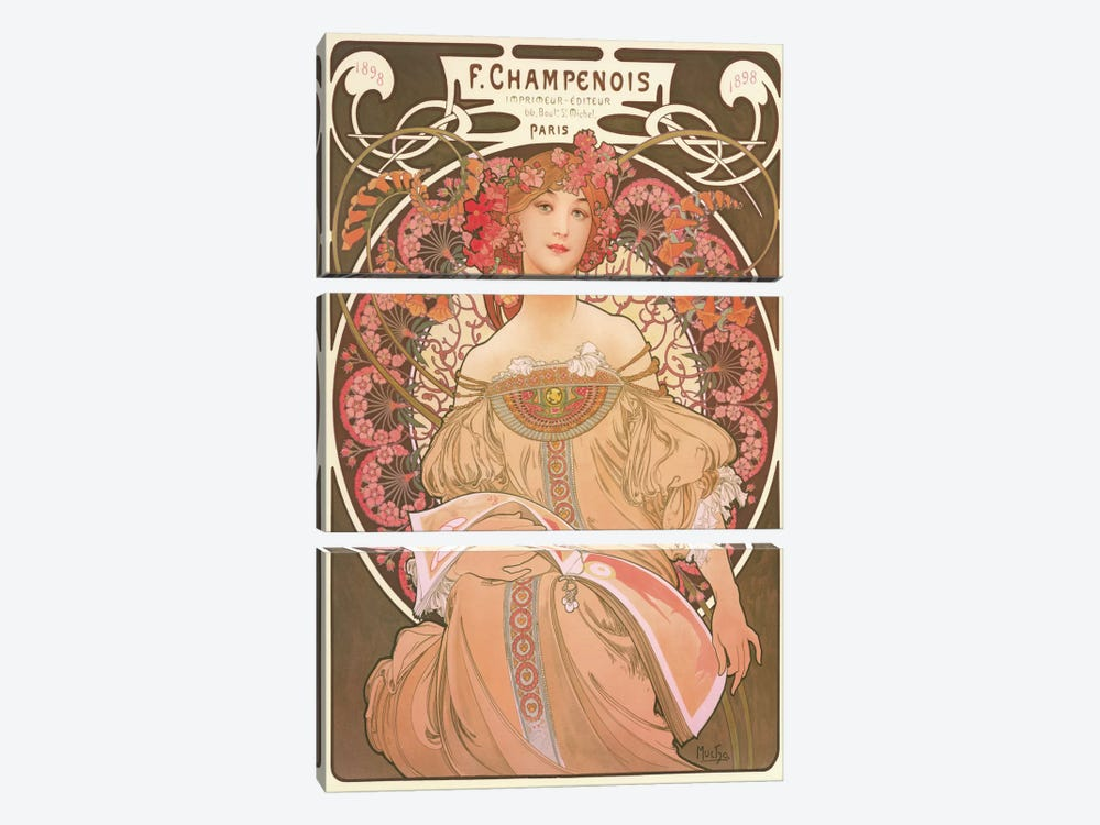 Reverie by Alphonse Mucha 3-piece Canvas Art Print