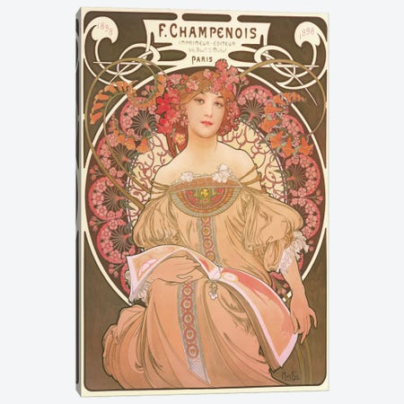 Reverie Canvas Print #1848} by Alphonse Mucha Canvas Art
