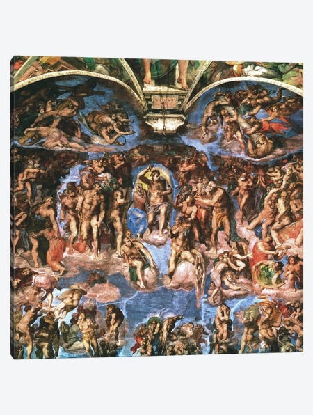 Sistine Chapel: The Last Judgement Canvas Print #1849} by Michelangelo Canvas Artwork