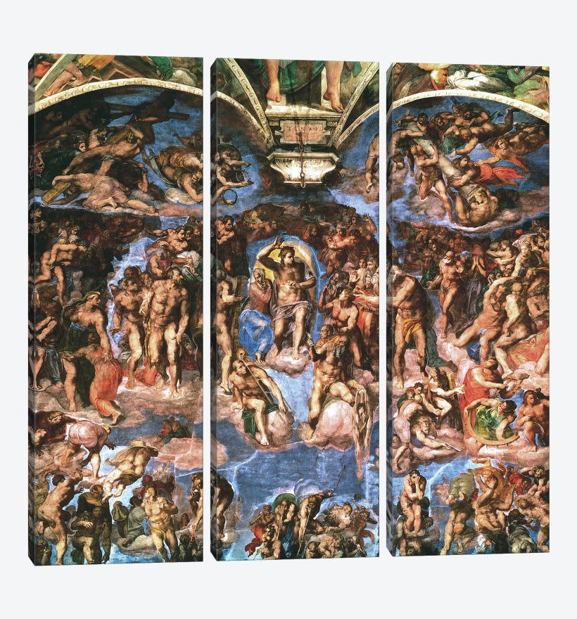 Sistine Chapel: The Last Judgement by Michelangelo 3-piece Canvas Art