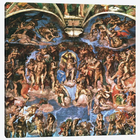 Sistine Chapel: The Last Judgement (Detail Of Upper Half) Canvas Print #1849} by Michelangelo Canvas Artwork