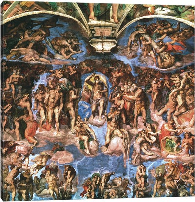 Sistine Chapel: The Last Judgement (Detail Of Upper Half) Canvas Art Print