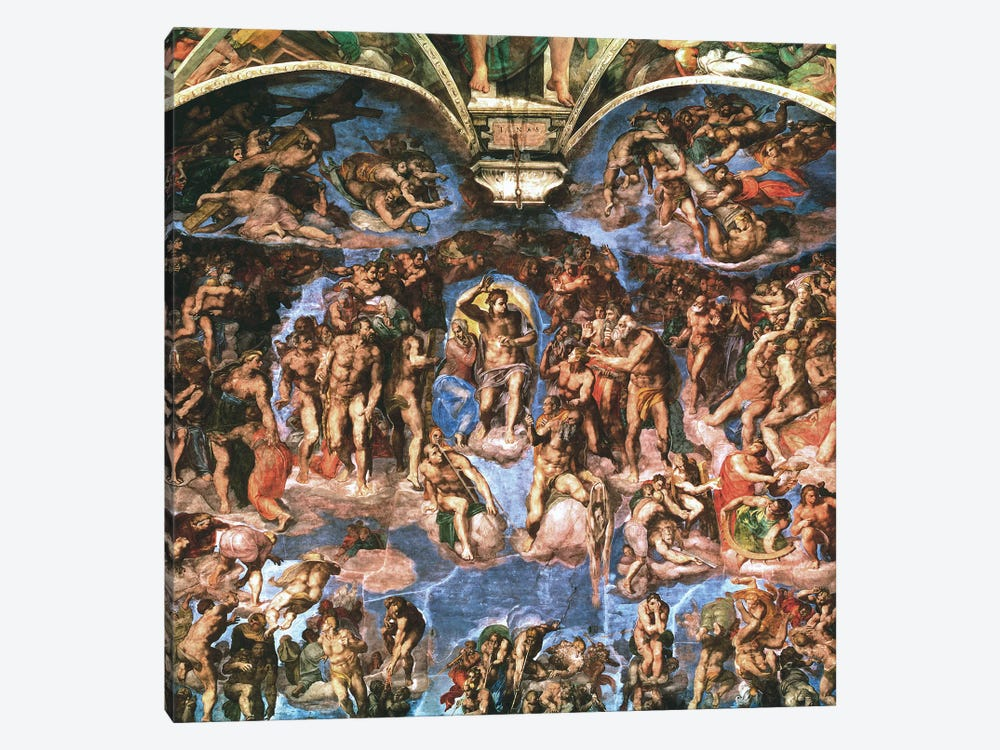 Sistine Chapel: The Last Judgement (Detail Of Upper Half) by Michelangelo 1-piece Canvas Artwork