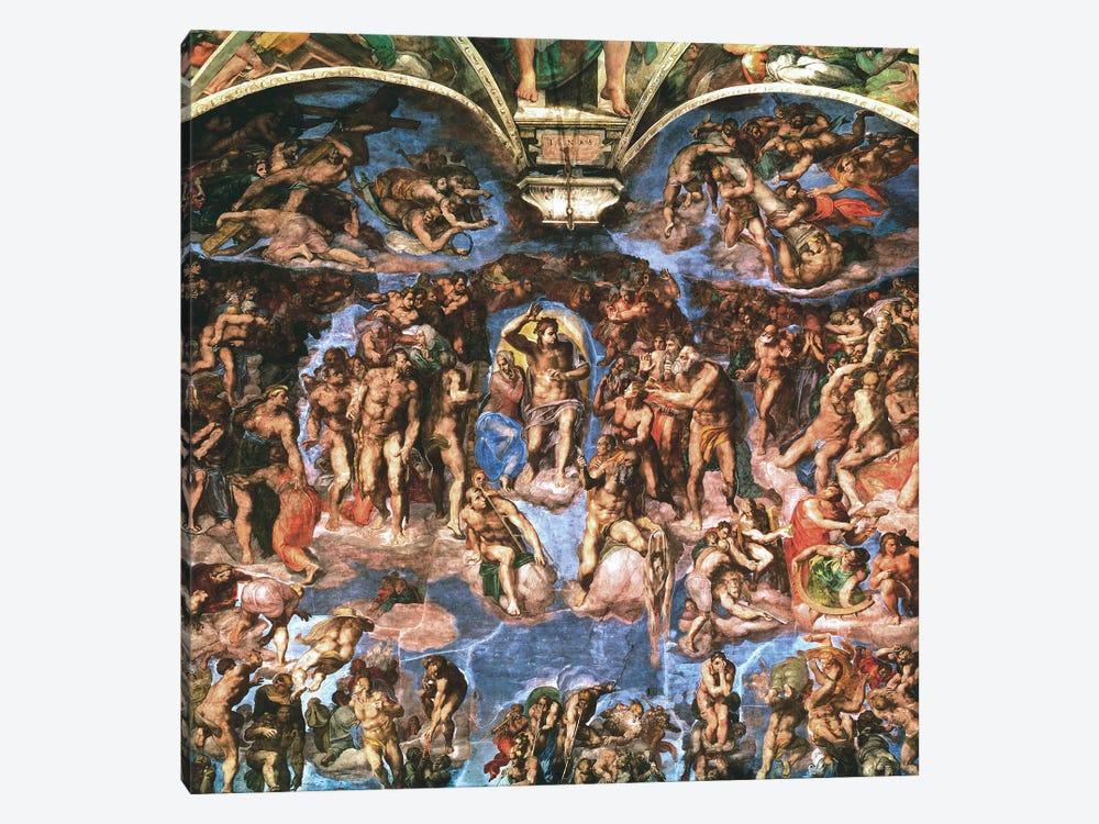 Sistine Chapel: The Last Judgement (Detail Of Upper Half) by Michelangelo 1-piece Canvas Artwork